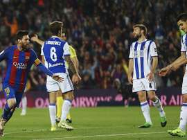 Messi scored a double and was among few things salvageable against Real Sociedad. EFE