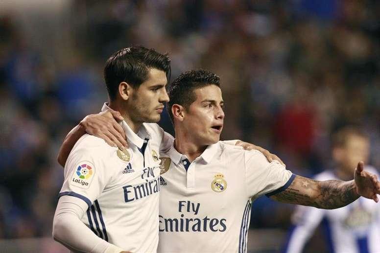 James y Morata podrían terminar en el Manchester United. EFE