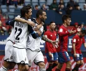 O brasileiro Guilherme Dos Santos marcou os dois gols do Deportivo. EFE