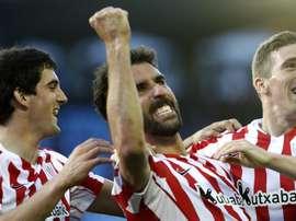 Le milieu de l'Athletic, Raul García célèbre son but en Liga conte Celta avec ses coéquipiers. EFE