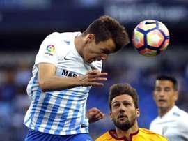 Le défenseur de Malaga, Diego Llorente, lors d'un match face à Séville en Liga. EFE