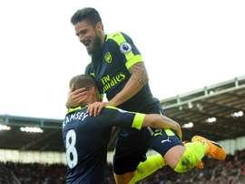 L'attaquant français d'Arsenal, Olivier Giroud, lors de la victoire en Premier League. EFE/EPA