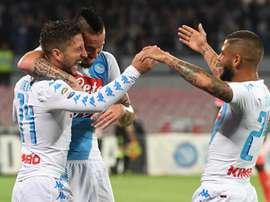 O Napoli bateu a Sampdoria por 4-2 no fecho do campeonato em Itália. EFE/EPA