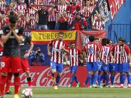 O Atlético venceu no seu último jogo no Vicente Calderón. EFE