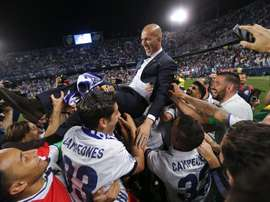 Les joueurs du Real Madrid célèbrent leur victoire en Liga lors du dernier match contre Malaga. EFE