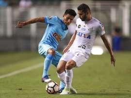 Le joueur du Santos, Thiago Maia, lors d'un match de la Copa Libertadores. EFE
