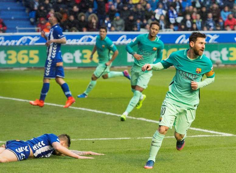 L'attaquant argentin Leo Messi, lors d'un match de Liga contre Alaves. EFE