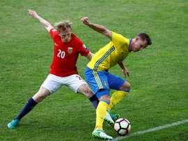 El combinado sueco consiguió empatar ante Noruega. EFE