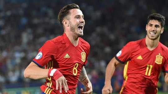Saúl marcou os três gols da vitória da Espanha sobre a Itália. EFE