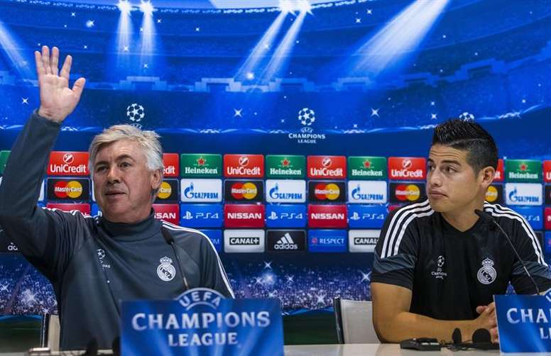 Carlo Ancelloti and James Rodriguez together at Real Madrid. EFE