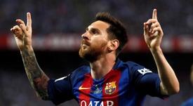 Le geste éternel de Messi après ses buts. EFE