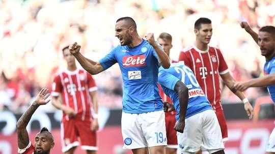 Maksimović celebrates Napoli's first goal. EFE