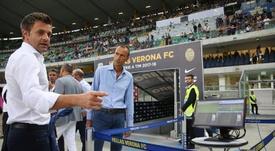 Italian referees designator, Nicola Rizzoli (L), checks on the VAR system prior the Italian Serie A soccer match Hellas Verona FC vs SSC Napoli at Bentegodi stadium in Verona, Italy. EFE