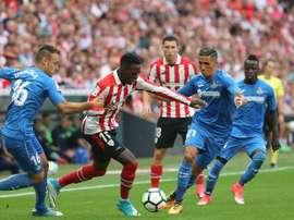 El árbitro no concedió un gol al equipo madrileño. EFE