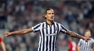 Prijovic volvió a marcar ante el Aittitos Spata. EFE