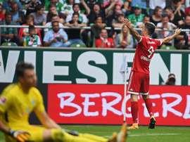 O atacante resolveu o jogo a favor do Bayern com dois gols. EFE/EPA