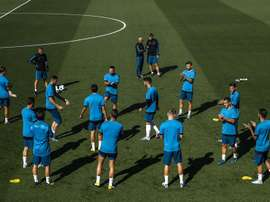 Real Madrid train ahead of Wednesday night's clash. EFE