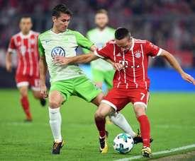 El Bayern se deja dos puntos ante el Wolfsburgo. AFP
