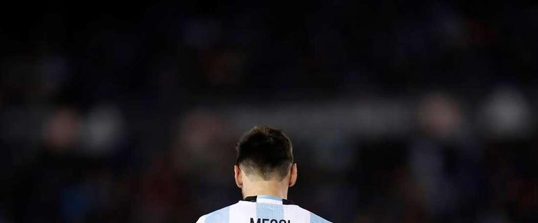 Lionel Messi avec l'Argentine lors d'une rencontre. EFE