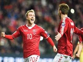 Foi de Eriksen o gol dos dinamarqueses. EFE