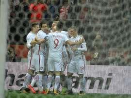 A Polônia já garantiu um lugar no Mundial'2018. AFP