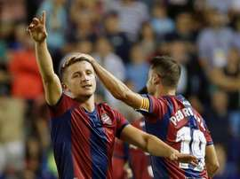 El Levante completará el jueves y el viernes la preparación del duelo ante el Espanyol. EFE