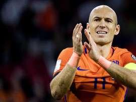 A não presença da Holanda significa que não vamos ver mais Robben com a 'Laranja'. EFE