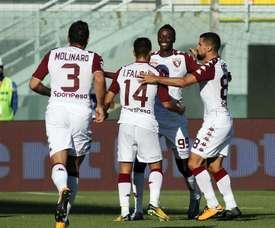 Iago Falqué igualó el partido ante el Cagliari, y Obi dio el triunfo al cuadro 'granata'. EFE/EPA