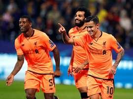 El Liverpool vence ante el Maribor. EFE