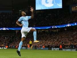 Sterling celebrates scoring the opener for City. EFE