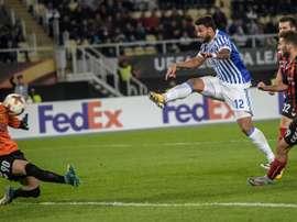 La Real Sociedad se llevó los tres puntos de Macedonia de forma contundente. EFE
