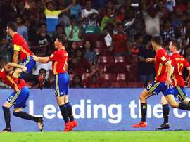 A Espanha está na final da Copa do Mundo de sub-17. EFE/DIVYAKANT SOLANKI