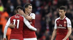 Xhaka pode perder a braçadeira de capitão do Arsenal. EFE/EPA