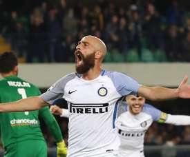 Valero celebrates his goal. EFE