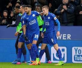 Mahrez foi o autor do segundo gol dos 'foxes'. AFP