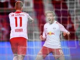 Werner dio el primero y marcó el segundo del Leipzig. EFE/EPA/Archivo