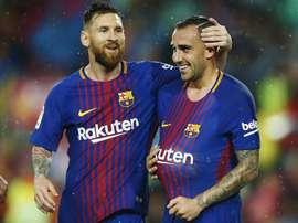Alcacer a marqué les deux buts du Barça. EFE