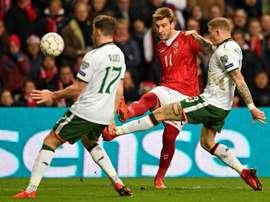 Nicklas Bendtner quiere colgar las botas en el Copenhague. EFE/Archivo