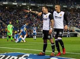 O Valencia bateu o Espanyol por 0-2. EFE