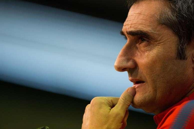 Valverde habló sobre Yerry Mina en rueda de prensa. EFE