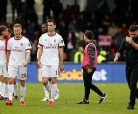 Otro revés para el Milan, al menos sin consecuencias esta vez. EFE/Archivo