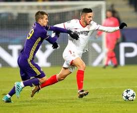 El Sevilla empató a uno en Eslovenia y está en octavos. EFE