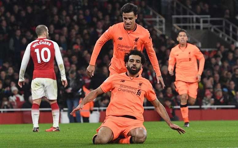 Salah celebrou o que na altura era o 'gol do descanso', mas ainda houve muito jogo. EFE/EPA