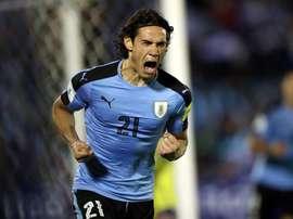 Cavani scored a brilliant bicycle kick for Uruguay. EFE/Archivo