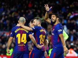 Luis Suárez comienza a ganar puestos en la clasificación histórica de anotadores del Barça. EFE