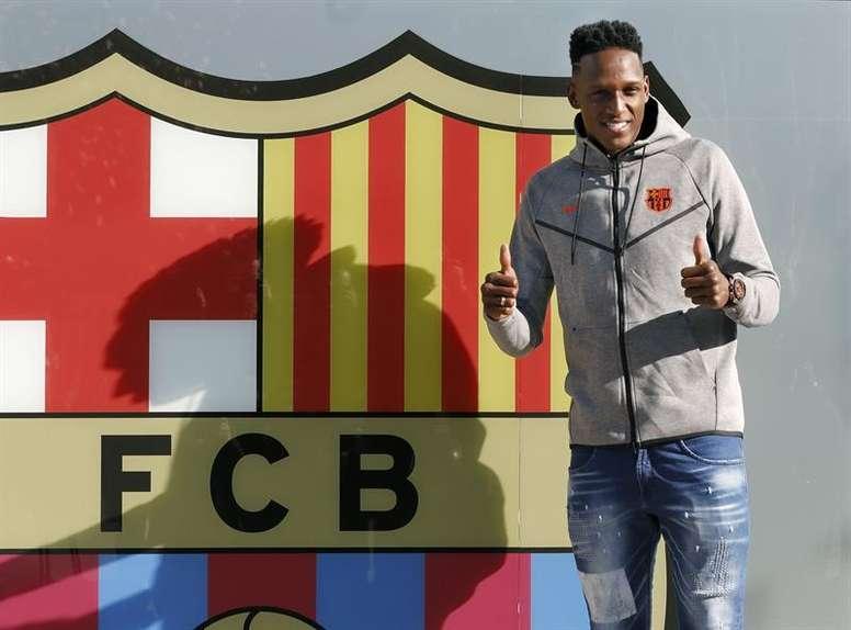 Yerry Mina comprobará la relevacia que supone jugar en el Camp Nou. EFE