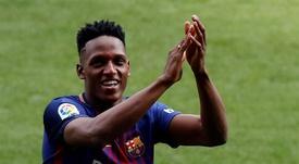 Yerry Mina podría salir del Barça este verano. EFE