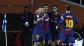 Jordi Alba a parlé de l'avantage du Barça sur le Real en Liga. EFE