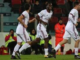 O Milan bateu o Cagliari por 1-2. AFP