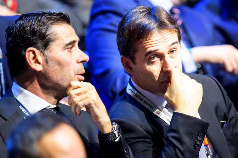 Hierro (L) replaces Julen Lopetegui as Spain's head coach. EFE